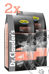 Dr.Clauder's Best Choice SENSITIVE ADULT SALMON & RICE - Karma sucha - ŁOSOŚ & RYŻ - 2x12,5kg